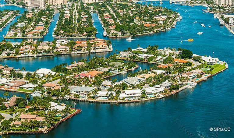 Northern Aerial View Of The Luxury Waterfront Homes In Harbor Beach Fort Lauderdale Florida