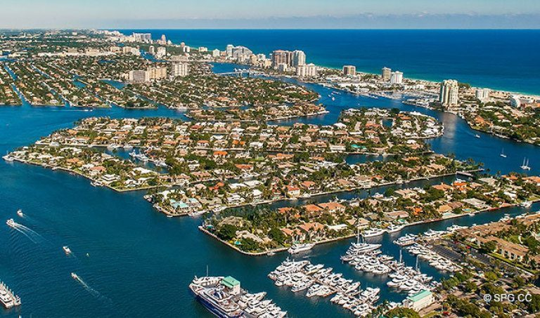 Northeast Aerial View Of The Luxury Waterfront Homes In Harbor Beach Fort Lauderdale Florida