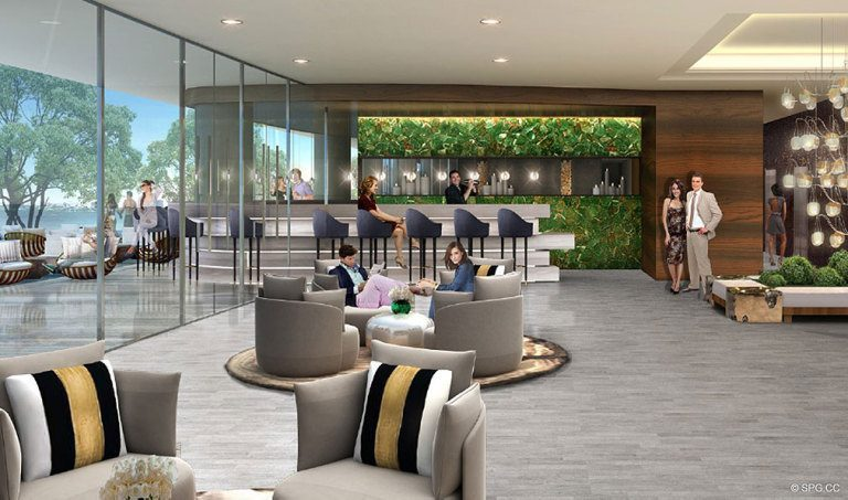 Lounge Bar at Aria on the Bay, Luxury Waterfront Condominiums Located at 1770 North Bayshore Drive, Miami, FL 33132