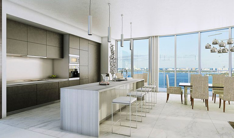 Kitchen at Aria on the Bay, Luxury Waterfront Condominiums Located at 1770 North Bayshore Drive, Miami, FL 33132