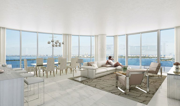 Living Room at Aria on the Bay, Luxury Waterfront Condominiums Located at 1770 North Bayshore Drive, Miami, FL 33132