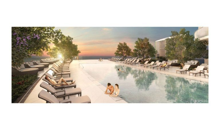 Pool Deck at Aria on the Bay, Luxury Waterfront Condominiums Located at 1770 North Bayshore Drive, Miami, FL 33132