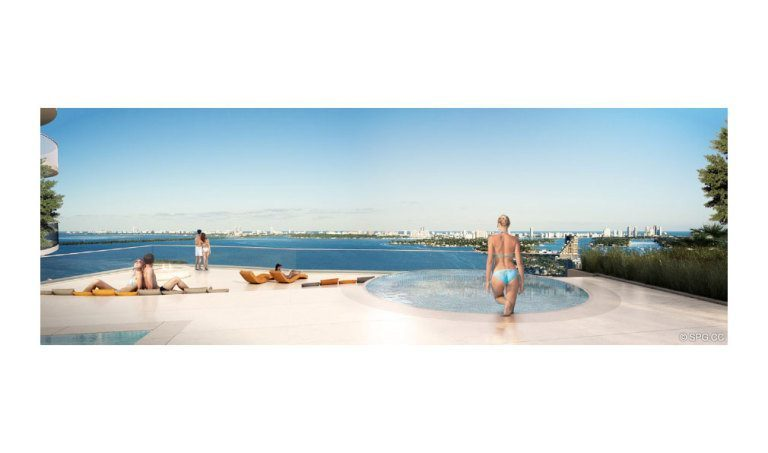 Pool at Aria on the Bay, Luxury Waterfront Condominiums Located at 1770 North Bayshore Drive, Miami, FL 33132