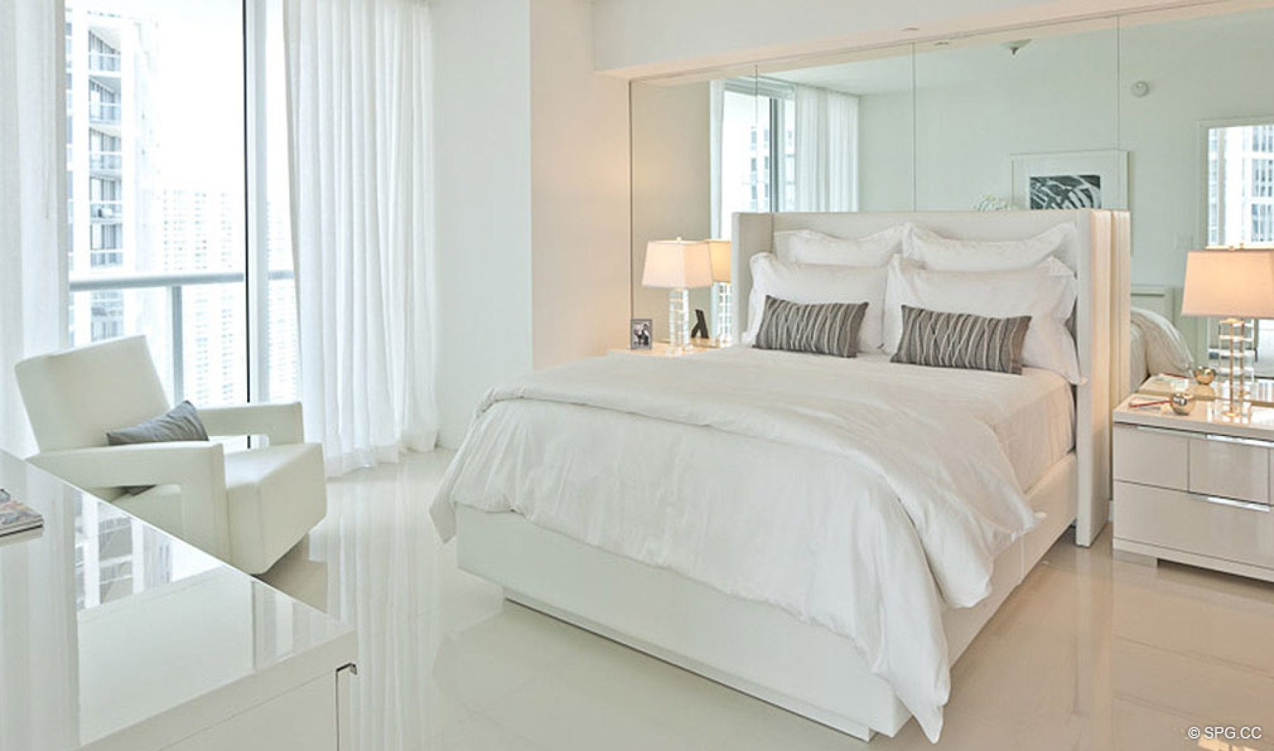 Bedroom Suite at ICON Brickell, Luxury Waterfront Condominiums Located at 475 Brickell Ave, Miami, FL 33131