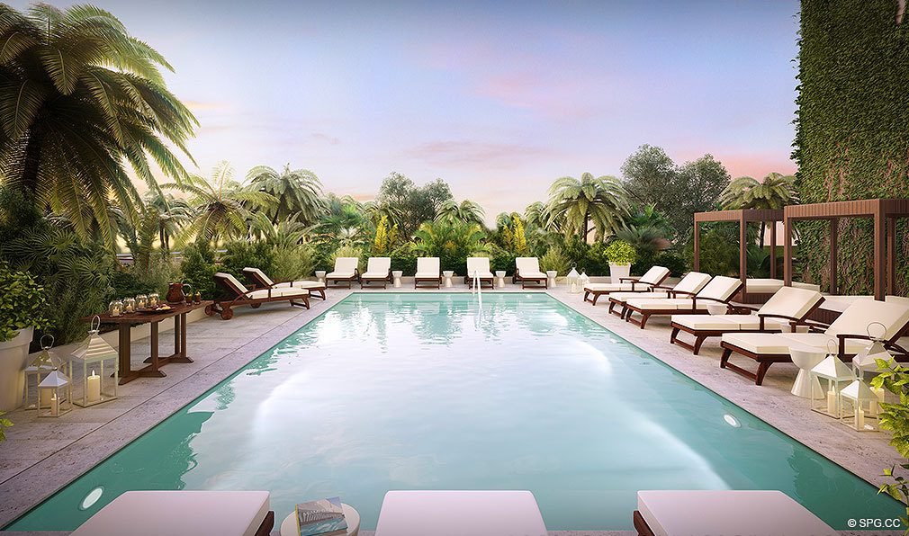 O Residences Pool Deck, Luxury Waterfront Condominiums Located at 9821 E Bay Harbor Dr, Miami Beach, FL 33154