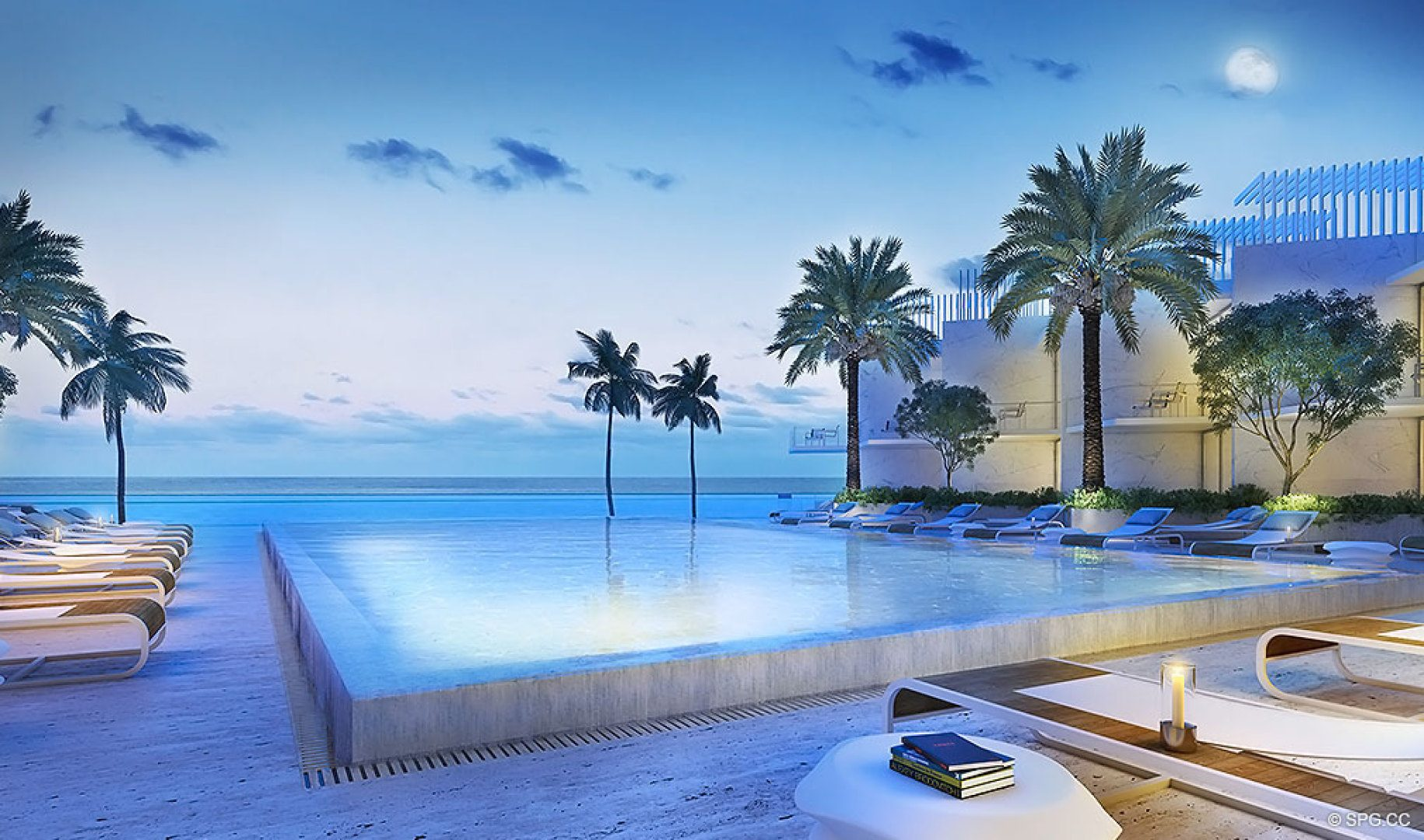 Pool Area at Turnberry Ocean Club, Luxury Oceanfront Condos Located at 18501 Collins Avenue, Sunny Isles Beach, Miami 33160