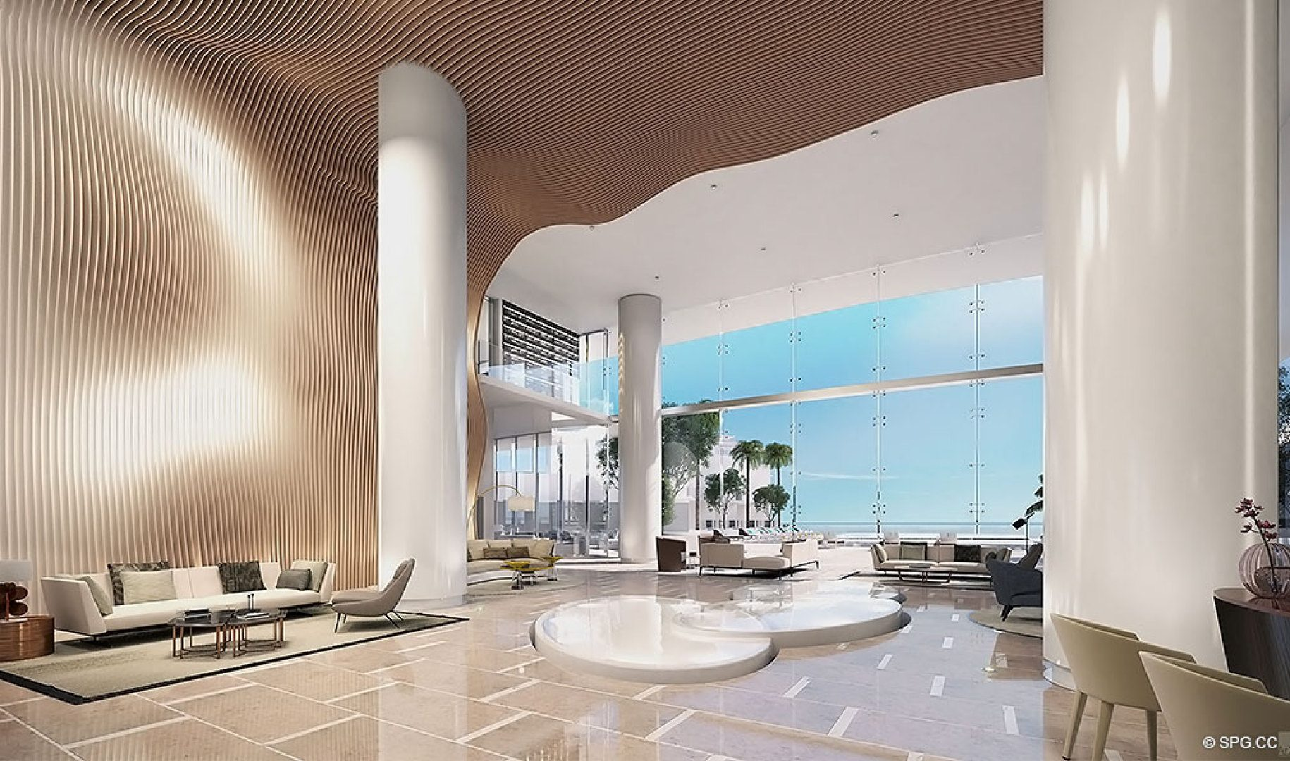 Lobby at Turnberry Ocean Club, Luxury Oceanfront Condos Located at 18501 Collins Avenue, Sunny Isles Beach, Miami 33160