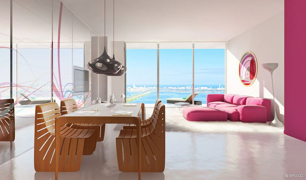 Floor to Ceiling Glass at Paraiso Bayviews, Luxury Seaside Condos in Miami, Florida 33137