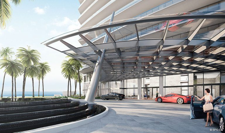 Entrance to the Residences by Armani Casa, Luxury Oceanfront Condos in Sunny Isles Beach, Florida 33160