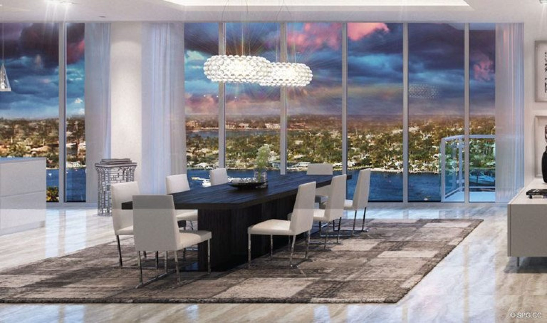 Dining Room Concept for 33 Intracoastal, Luxury Waterfront Condominiums in Fort Lauderdale, Florida 33306