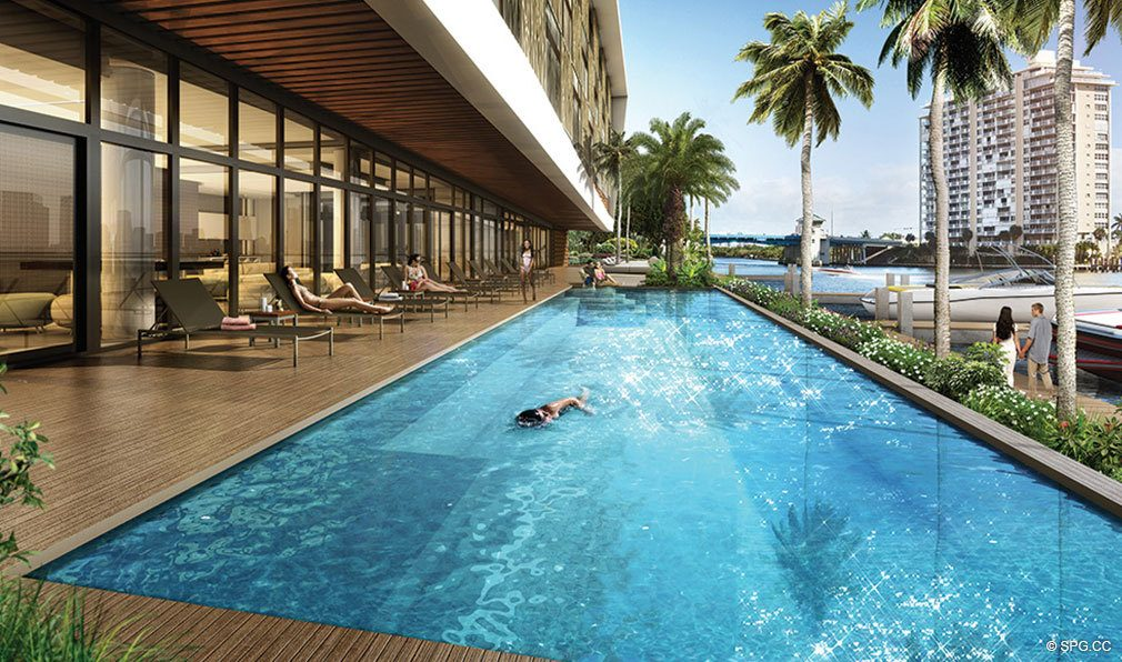 Pool Area at AquaBlu, Luxury Waterfront Condos in Fort Lauderdale, Florida 33304