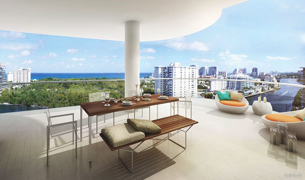 Splendid Terrace Views from AquaBlu, Luxury Waterfront Condos in Fort Lauderdale, Florida 33304