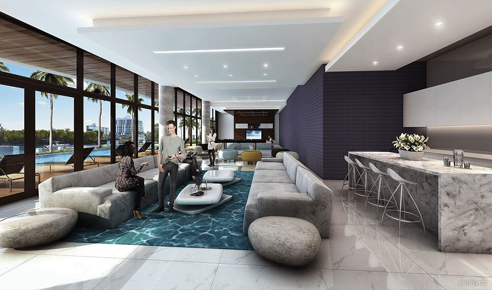 lavish Social Spaces at AquaBlu, Luxury Waterfront Condos in Fort Lauderdale, Florida 33304