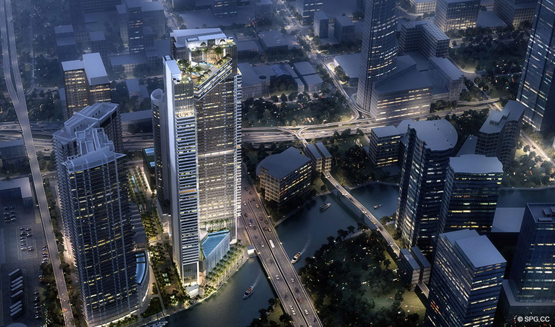 Evening Aerial Rendering of One River Point, Luxury Waterfront Condos in Miami, Florida 33130