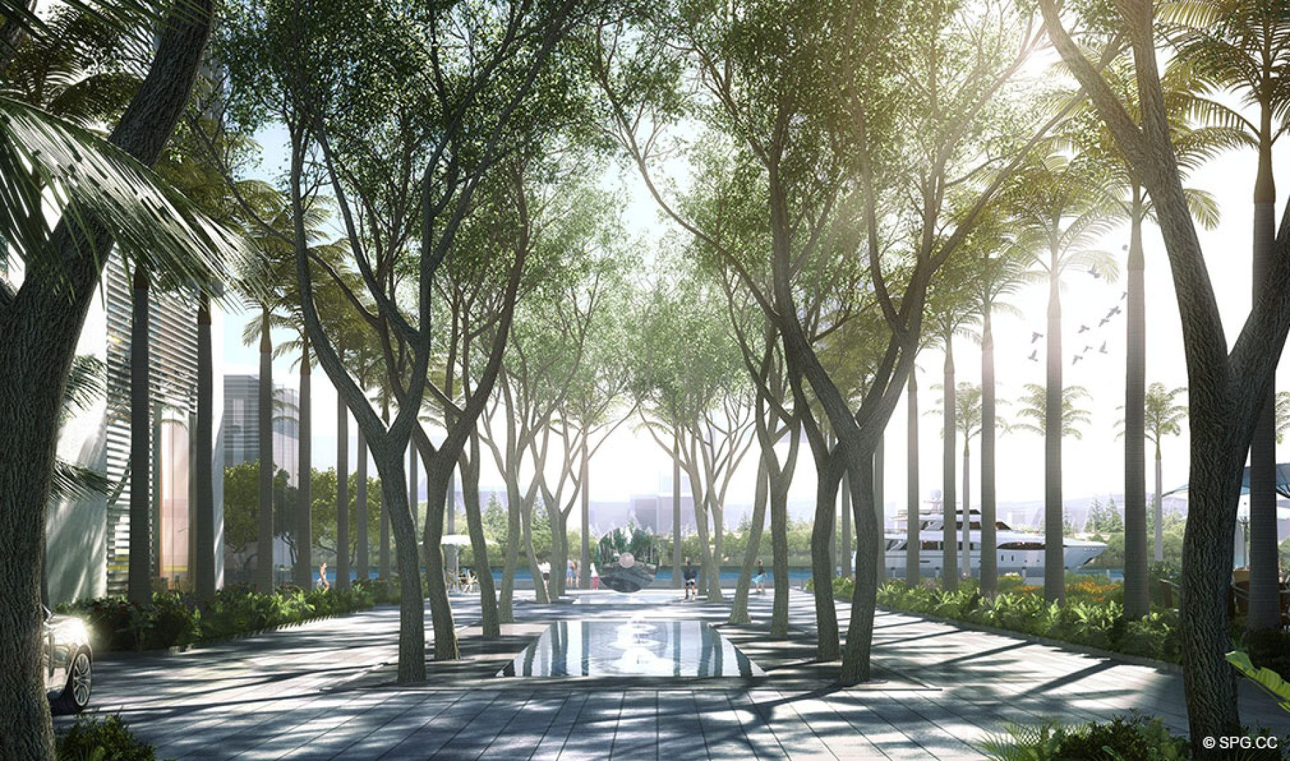 Lush Contemporary Landscaping at One River Point, Luxury Waterfront Condos in Miami, Florida 33130