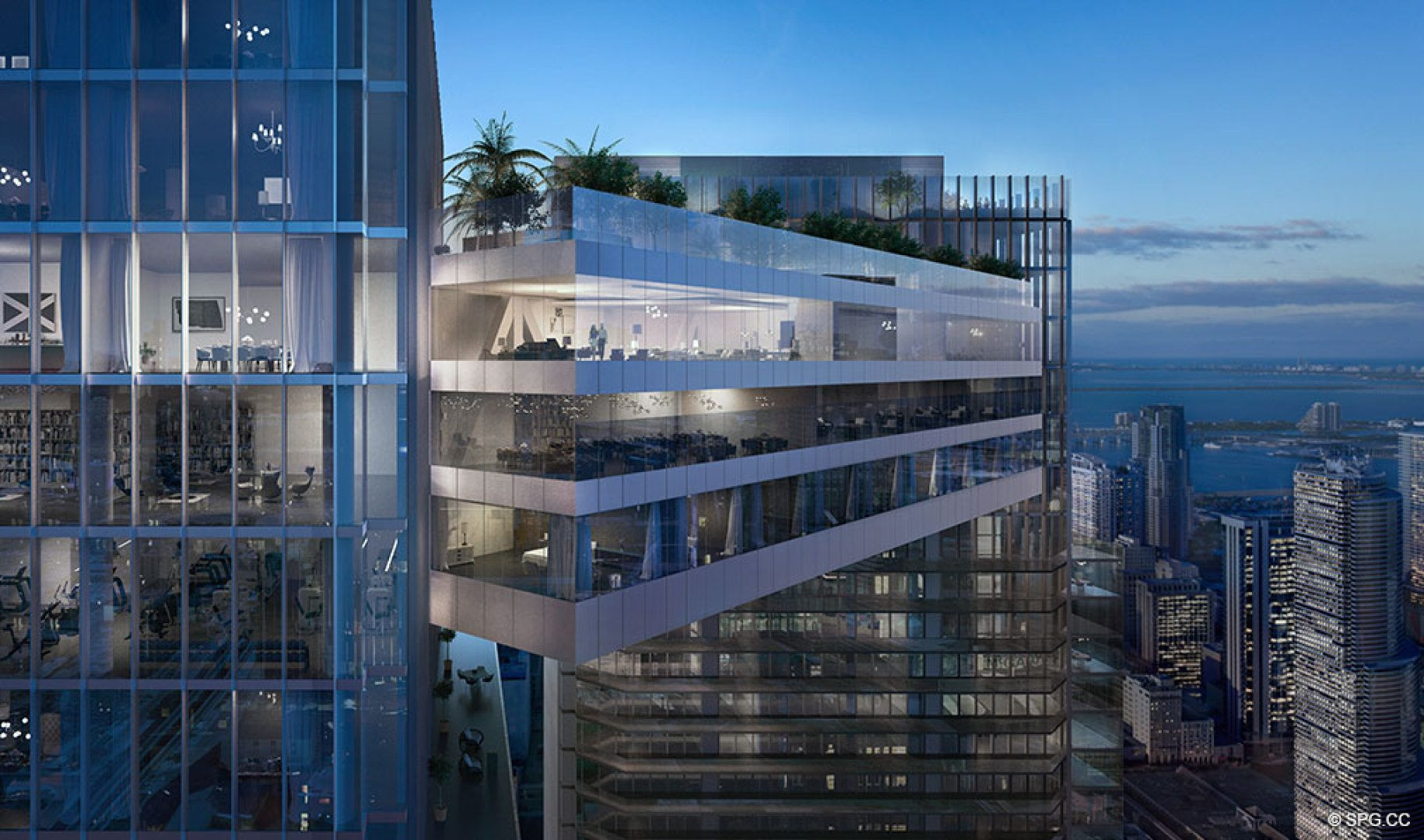 The majestic Sky Terrace at One River Point, Luxury Waterfront Condos in Miami, Florida 33130