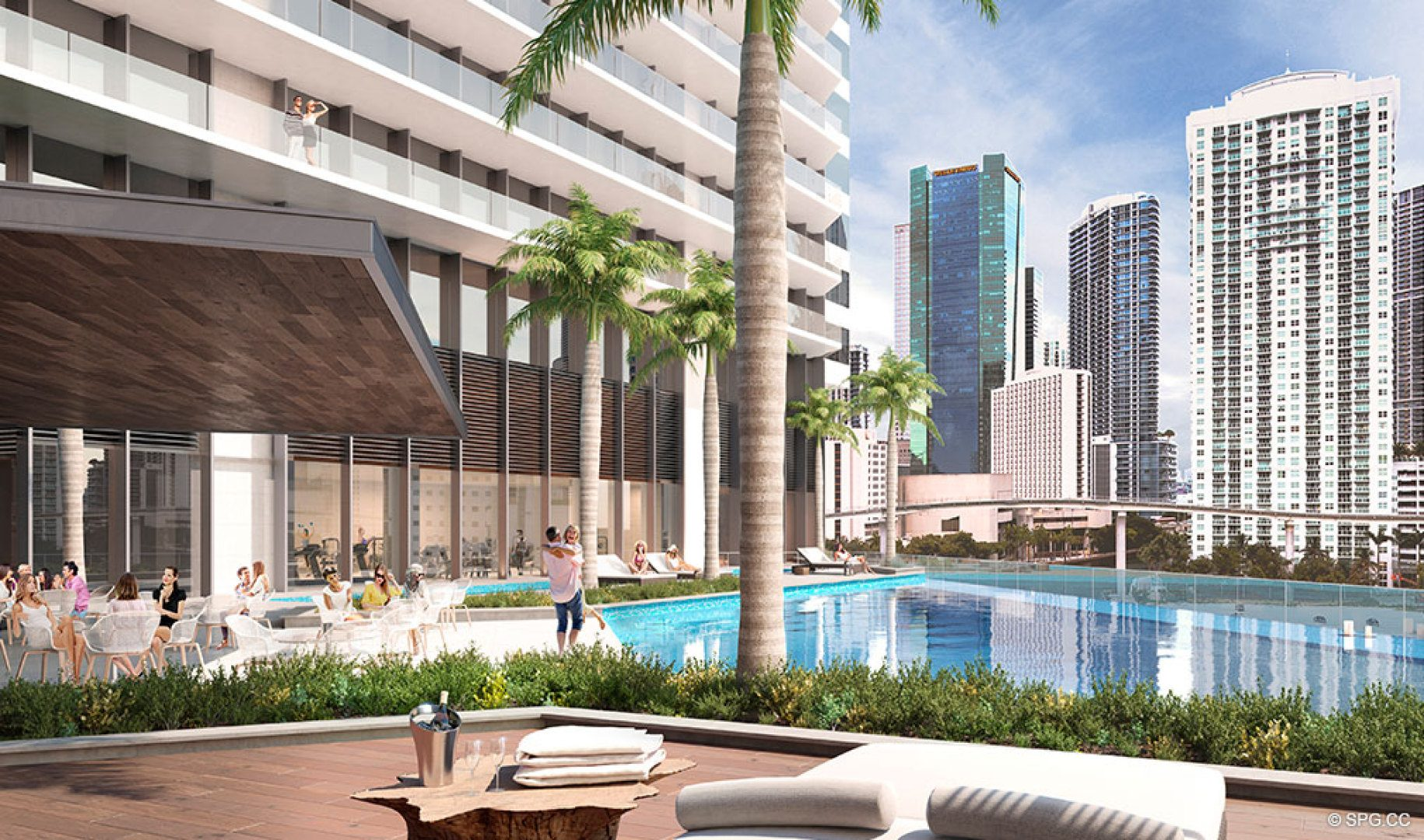 Pool Area at One River Point, Luxury Waterfront Condos in Miami, Florida 33130