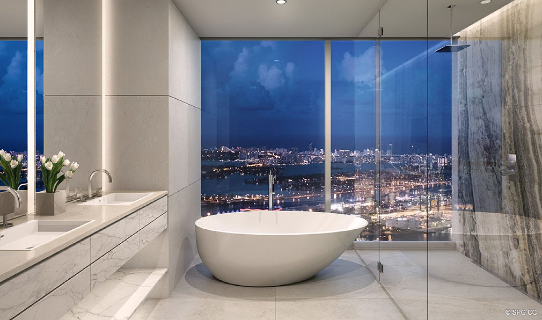 Master Bath Design in One River Point, Luxury Waterfront Condos in Miami, Florida 33130