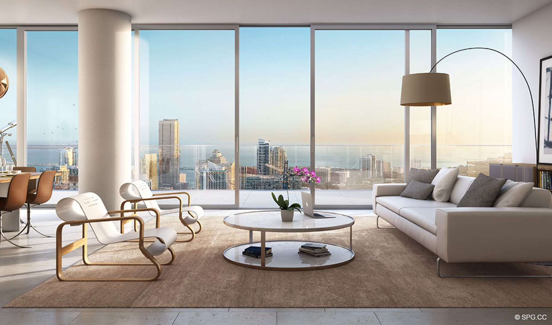 Living Room Layout in One River Point, Luxury Waterfront Condos in Miami, Florida 33130