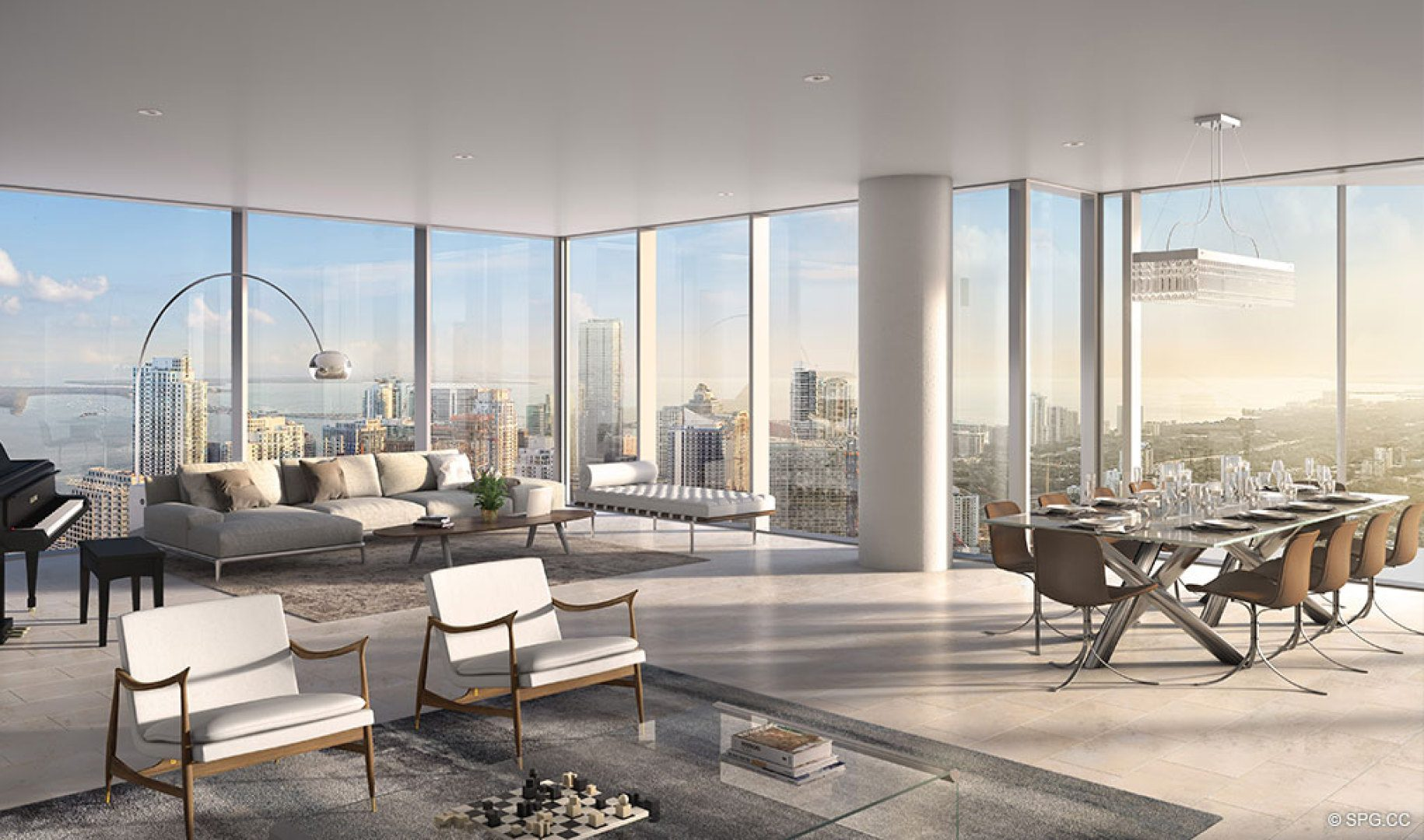 Floor to Ceiling Glass Residences at One River Point, Luxury Waterfront Condos in Miami, Florida 33130