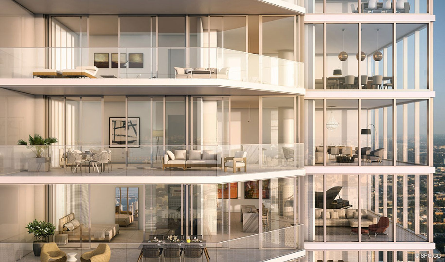Spacious Terrace Space at One River Point, Luxury Waterfront Condos in Miami, Florida 33130