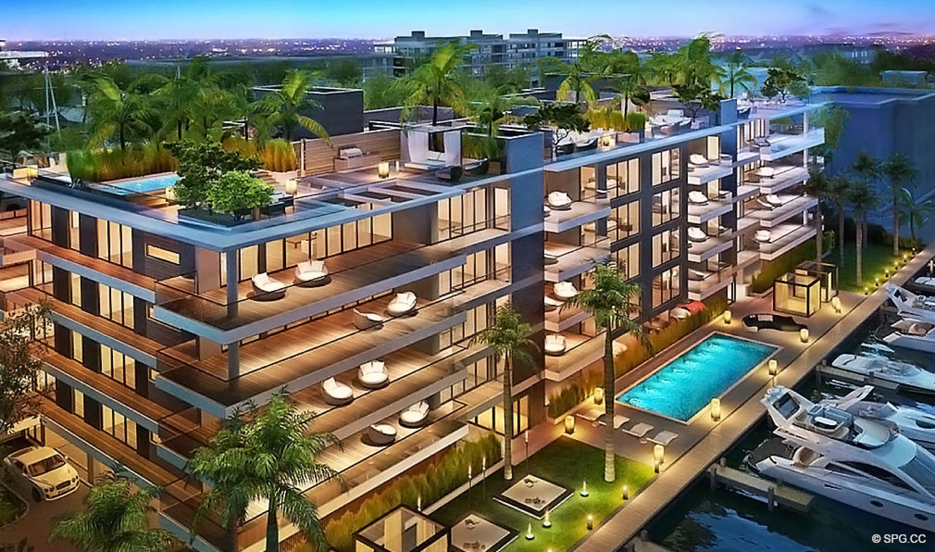Expansive Private Terraces at AquaLuna Las Olas, Luxury Waterfront Condos in Fort Lauderdale, Florida 33301