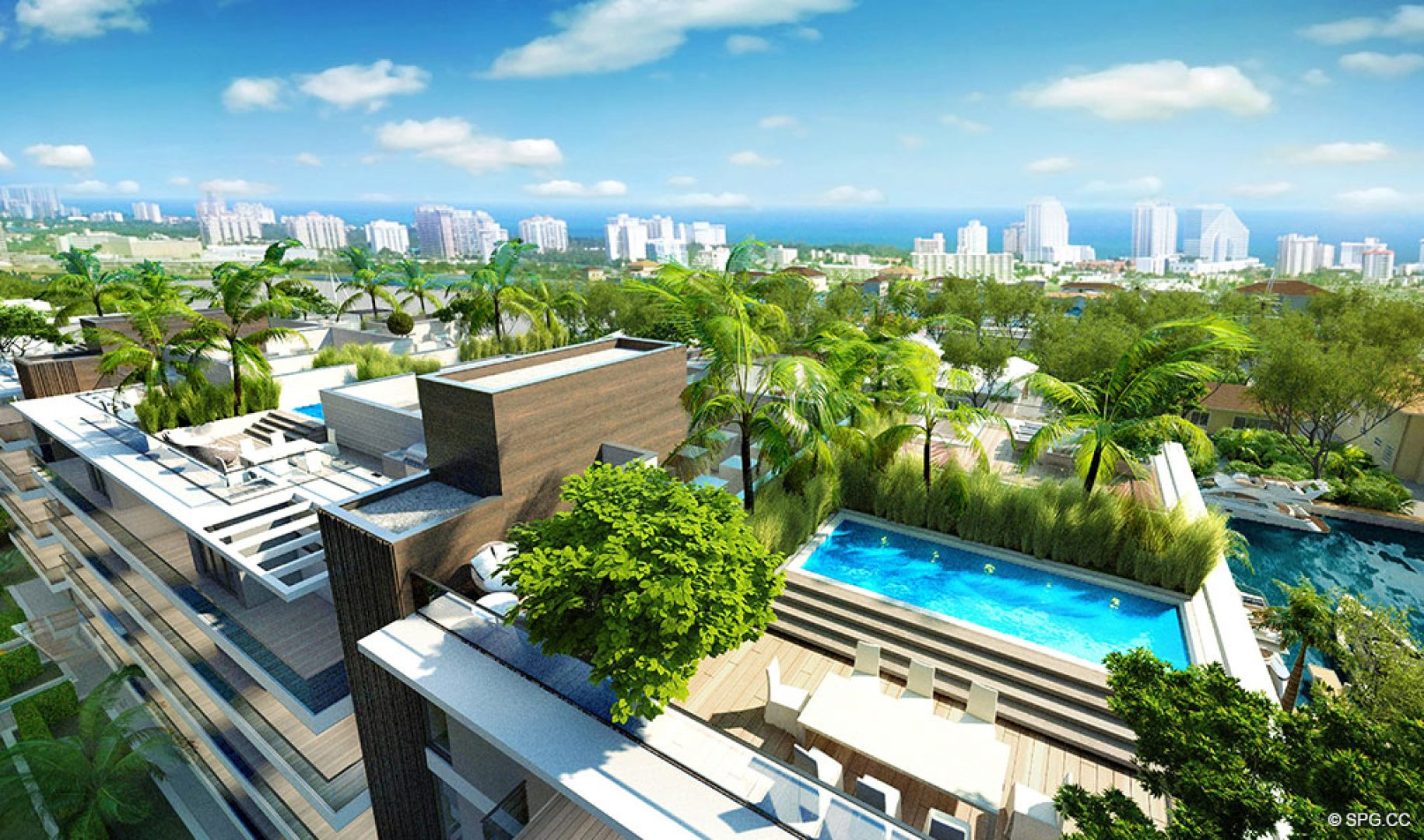 Amazing Roof Terrace at AquaLuna Las Olas, Luxury Waterfront Condos in Fort Lauderdale, Florida 33301