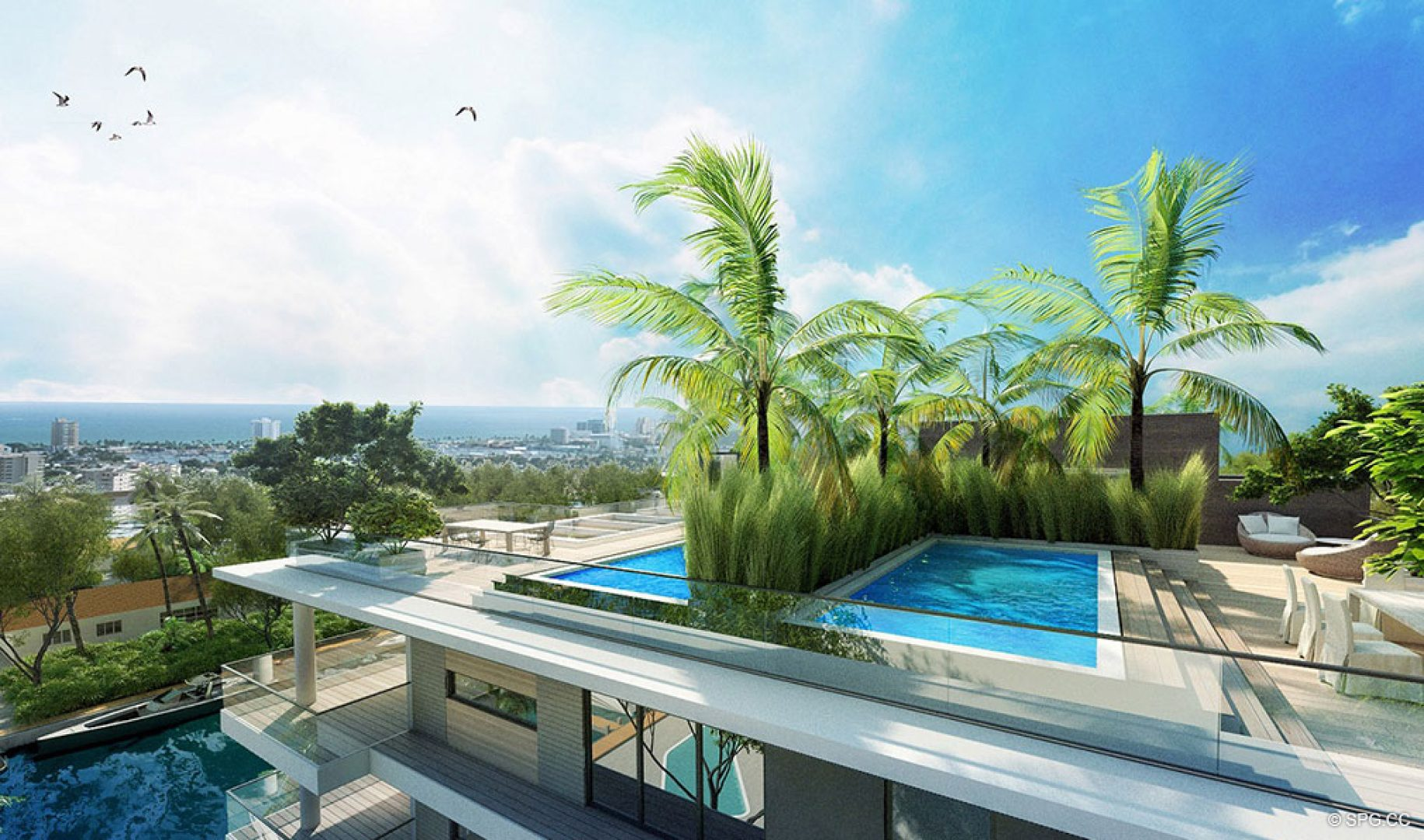 Rooftop Pools at AquaLuna Las Olas, Luxury Waterfront Condos in Fort Lauderdale, Florida 33301