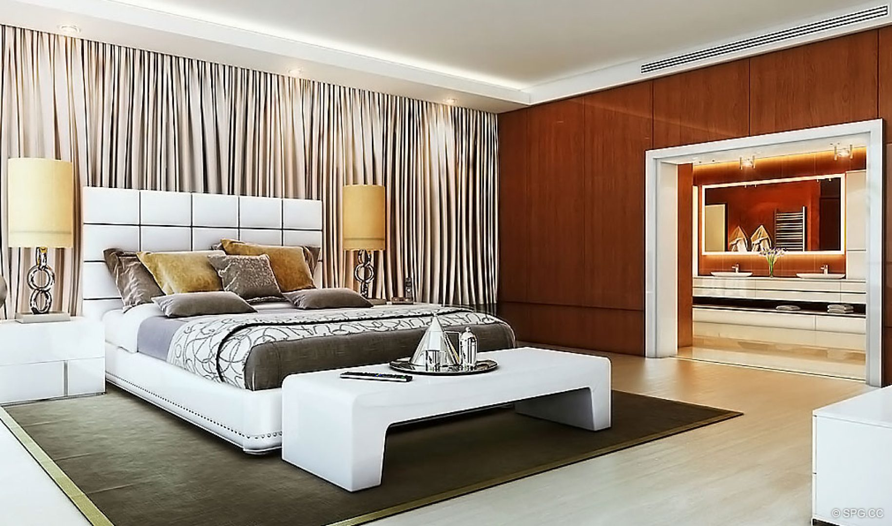 Bedroom Design at AquaLuna Las Olas, Luxury Waterfront Condos in Fort Lauderdale, Florida 33301