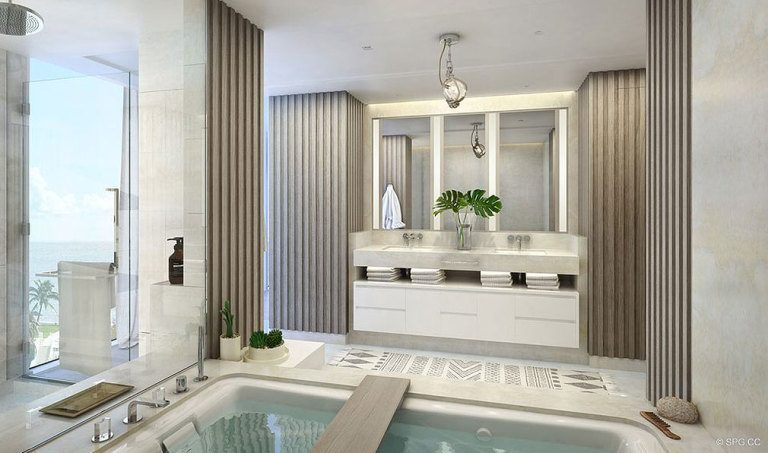Relaxing Master Bath in 3550 South Ocean, Luxury Oceanfront Condos in Palm Beach, Florida 33480