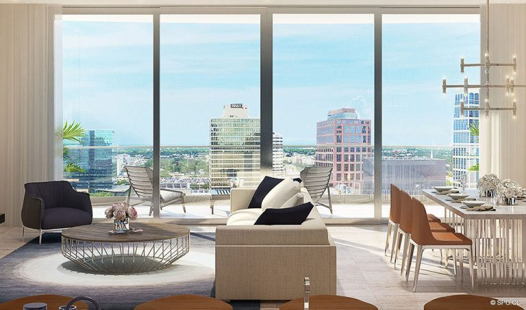 Living Room Design inside 100 Las Olas, Luxury Condos in Fort Lauderdale, Florida 33301