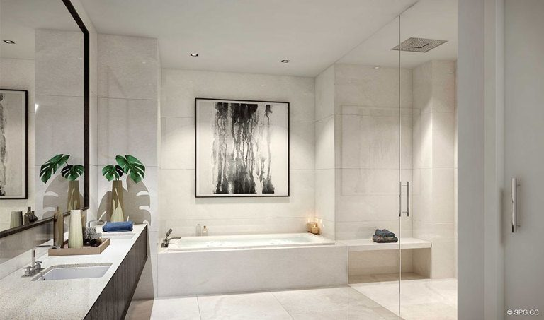 Master Bath Design in 100 Las Olas, Luxury Condos in Fort Lauderdale, Florida 33301
