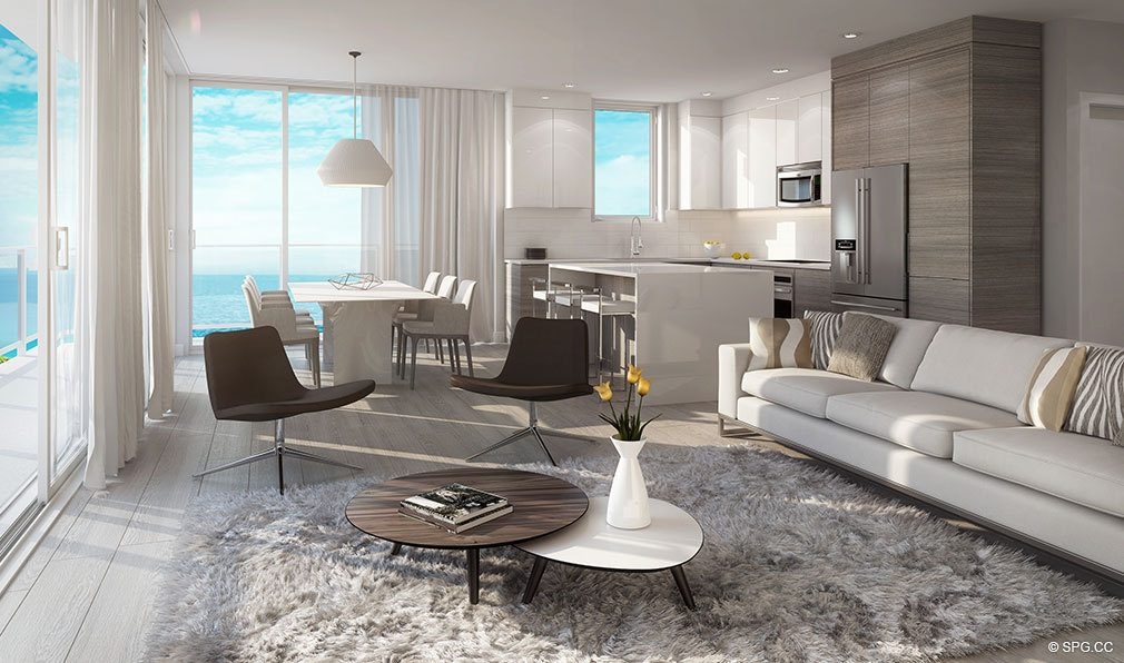 Living Room Design at Aura Pompano Beach, Luxury Seaside Condos in Pompano Beach, FL 33062