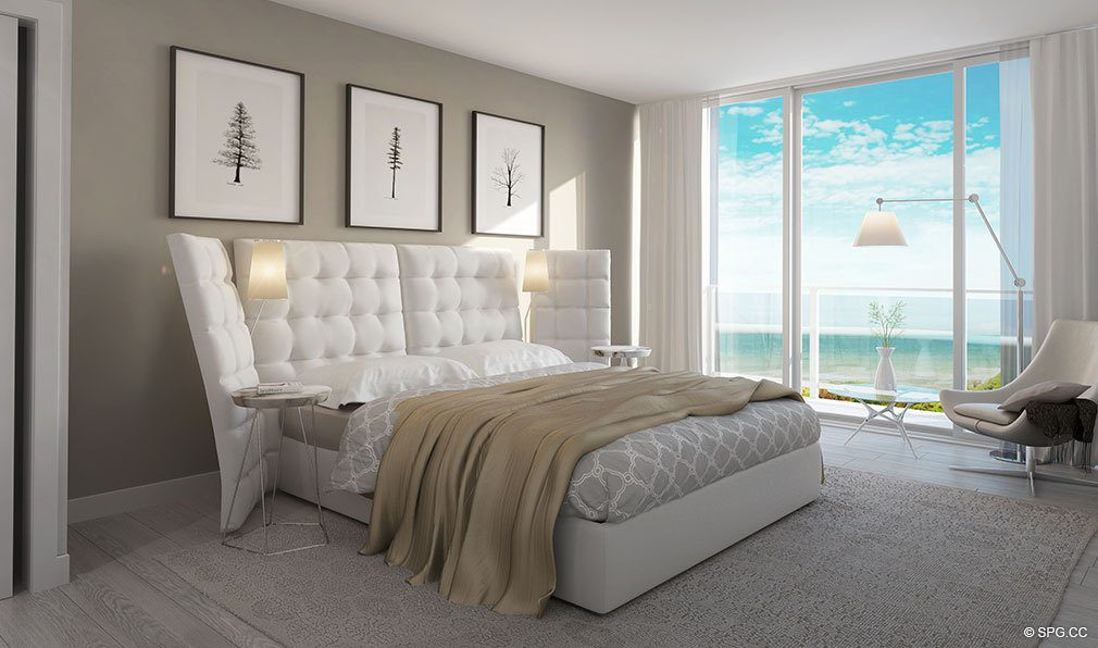 Master Bedroom inside Aura Pompano Beach, Luxury Seaside Condos in Pompano Beach, FL 33062