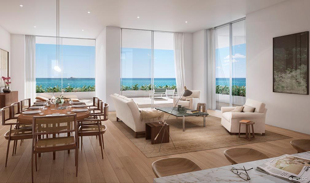 Living Room Design At Fasano Hotel And Residences The Shore Club Luxury Oceanfront Condos