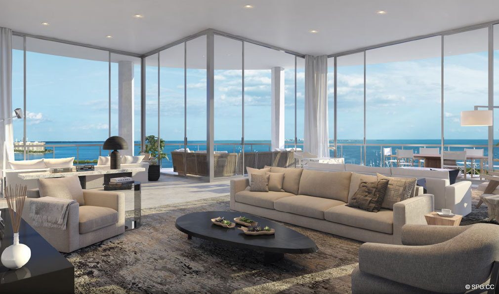 Living Rooms with Floor to Ceiling Glass at Park Grove, Luxury Waterfront Condos in Miami, Florida 33133