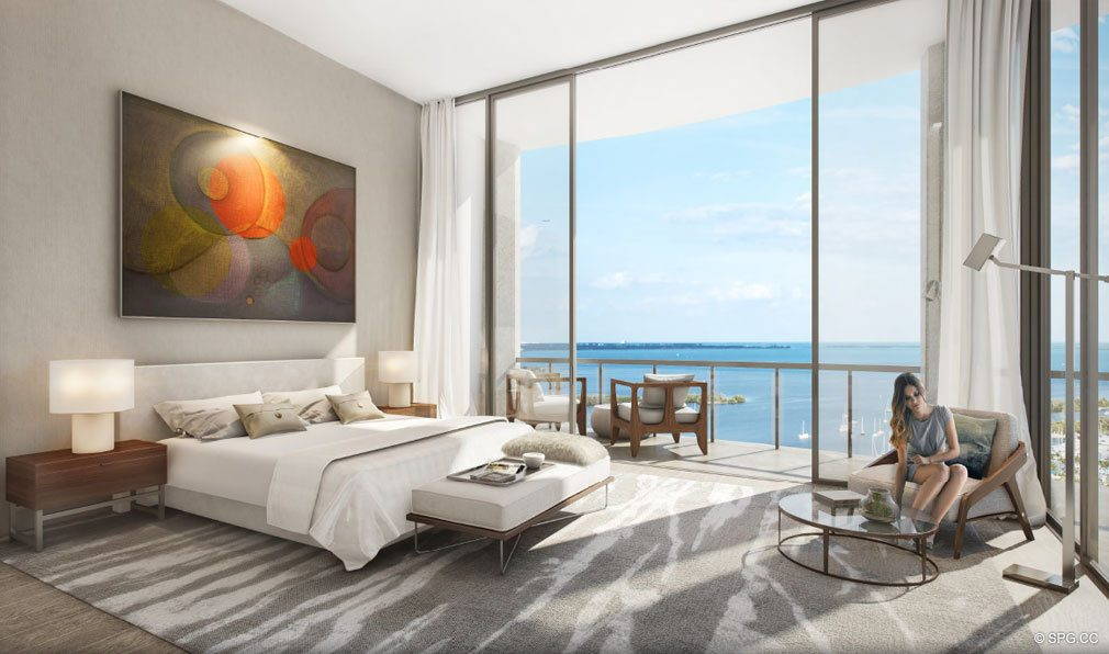 Luxurious Master Bedroom at Park Grove, Luxury Waterfront Condos in Miami, Florida 33133