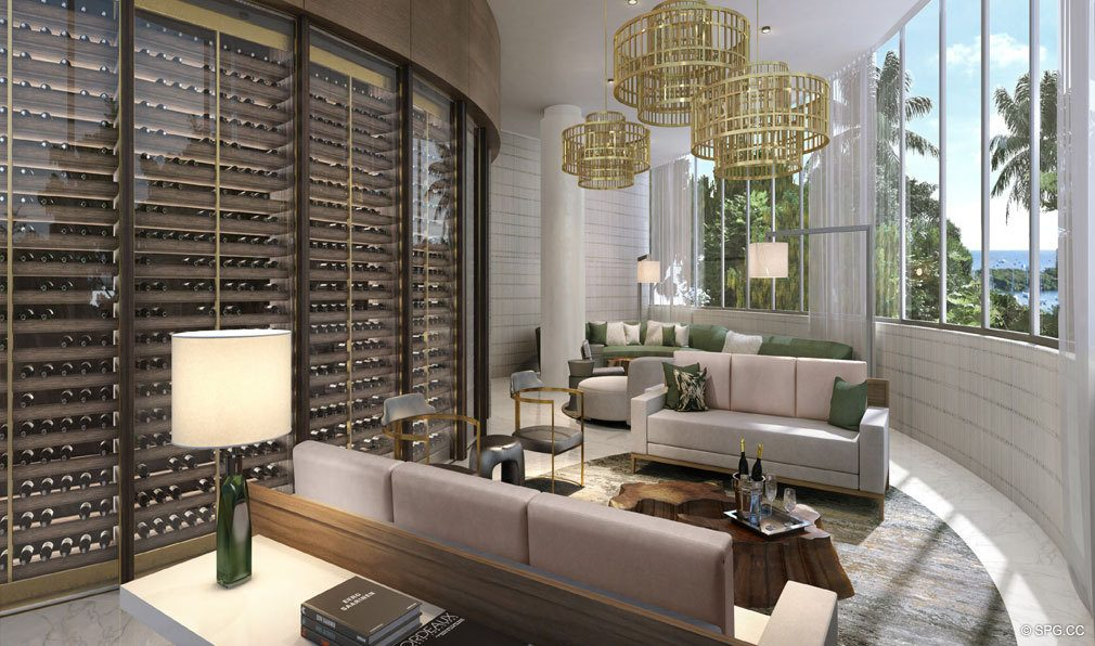 Wine Room at Park Grove, Luxury Waterfront Condos in Miami, Florida 33133