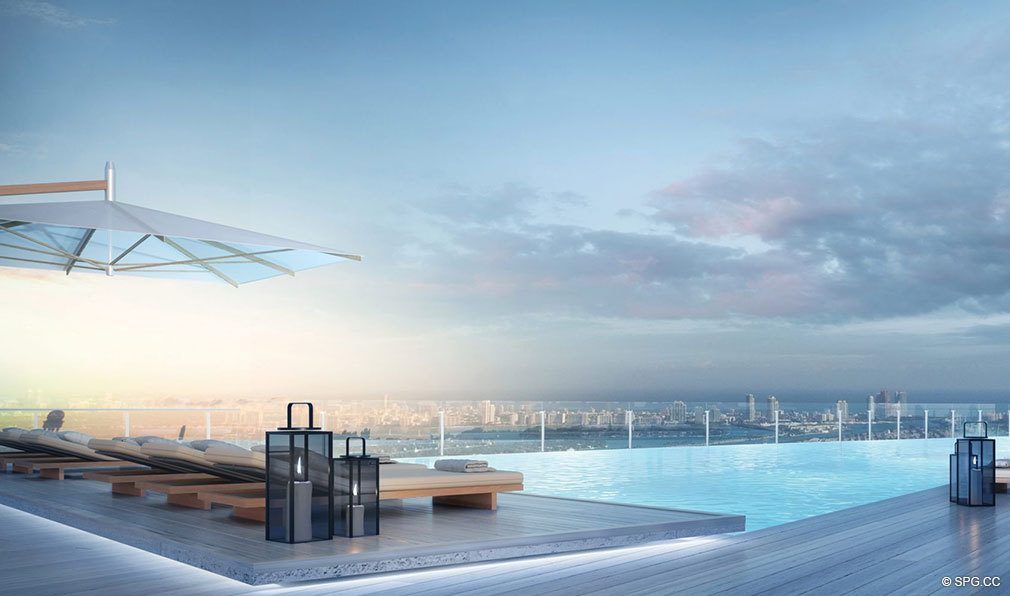 Spectacular Pool Deck Views from Aston Martin Residences, Luxury Waterfront Condos in Miami, Florida 33131