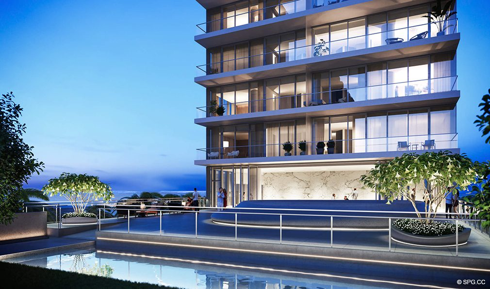 Dusk on the Podium Deck at 2000 Ocean, Luxury Oceanfront Condos in Hallandale Beach, Florida 33009
