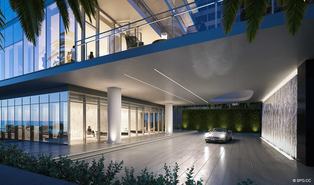 Port Cochere with Waterfall at 2000 Ocean, Luxury Oceanfront Condos in Hallandale Beach, Florida 33009