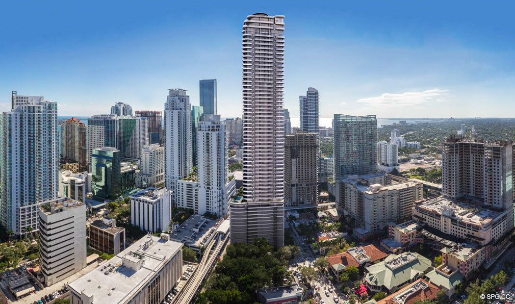 Aerial View of Brickell Flatiron, Luxury Condos in Miami, Florida 33130