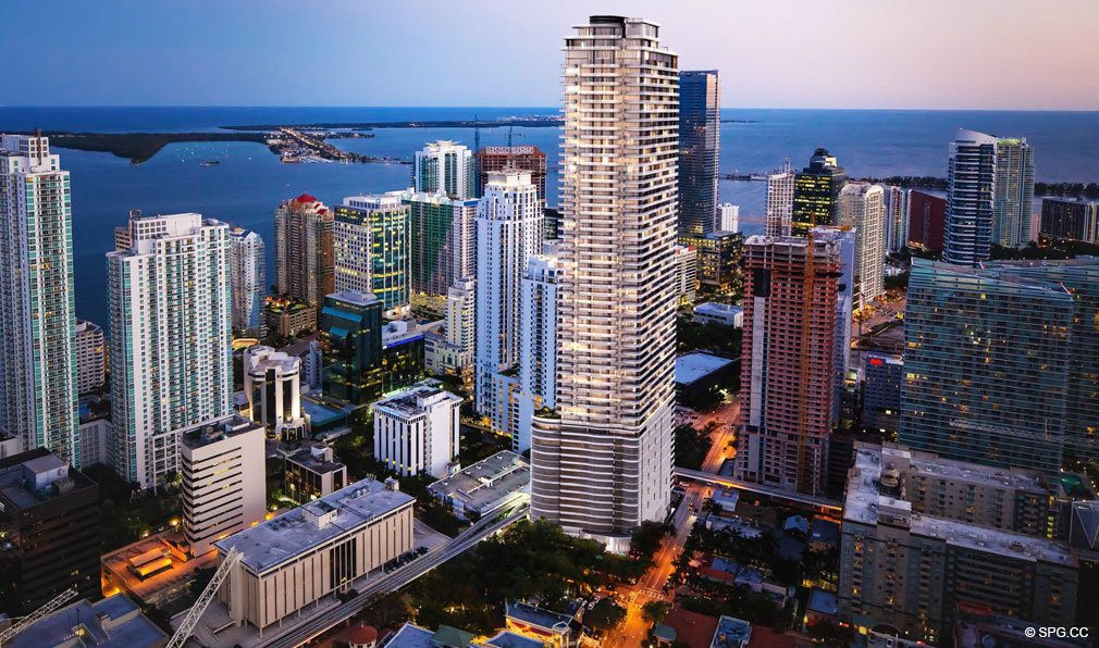 Evening Aerial View of Brickell Flatiron, Luxury Condos in Miami, Florida 33130