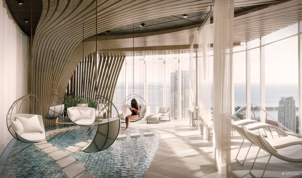 Relaxation Area at Brickell Flatiron, Luxury Condos in Miami, Florida 33130