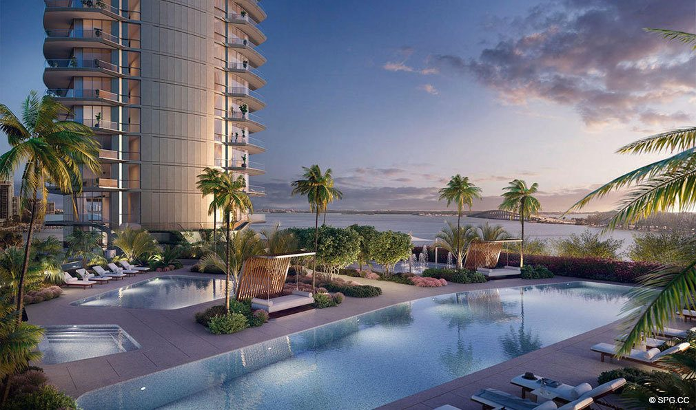 Evenings Poolside at Una Residences, Luxury Waterfront Condos in Miami, Florida, Florida 33129