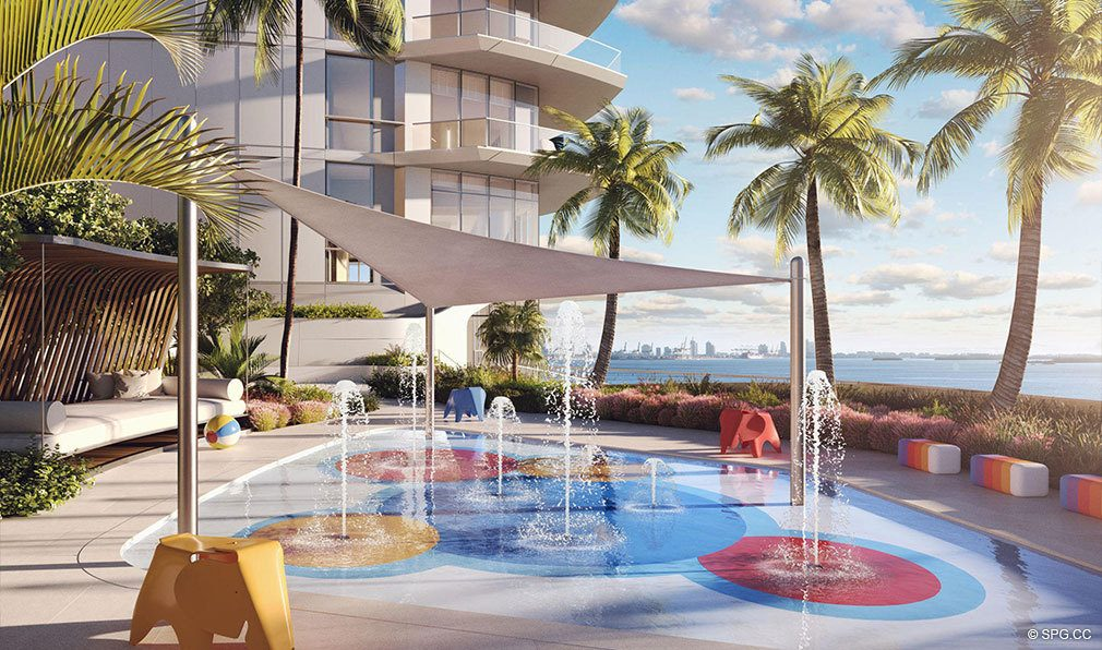 Kids Pool and Splash Pad at Una Residences, Luxury Waterfront Condos in Miami, Florida, Florida 33129