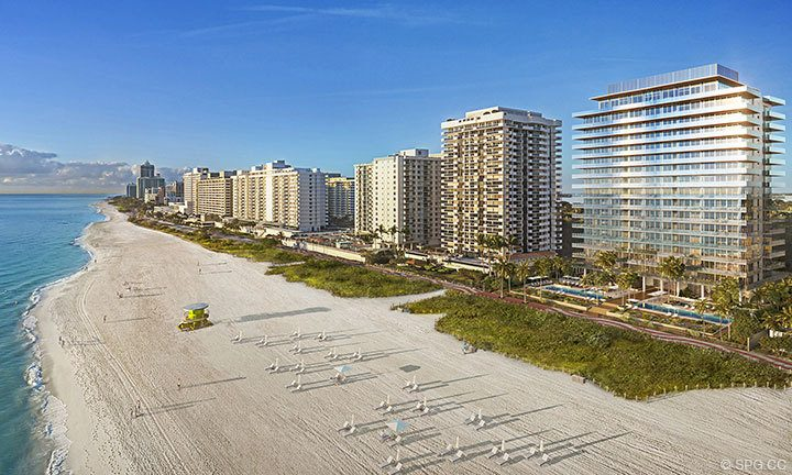 Building Facades of 57 Ocean, Luxury Oceanfront Condos in Miami Beach