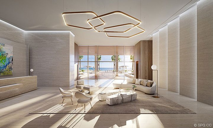 Building Lobby of 57 Ocean, Luxury Oceanfront Condos in Miami Beach