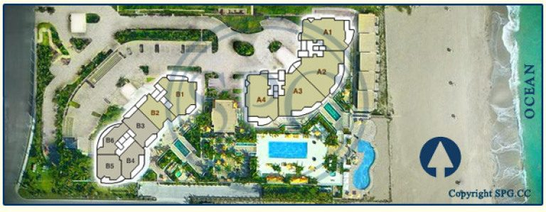 Siteplan for Ritz-Carlton Residences, Luxury Oceanfront Condominiums Located at 2700 North Ocean Drive, Singer Island, Florida 33404