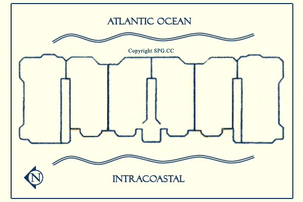 Siteplan for Acqualina, Luxury Oceanfront Condominiums Located at 17885 Collins Avenue, Sunny Isles Beach, Florida 33160